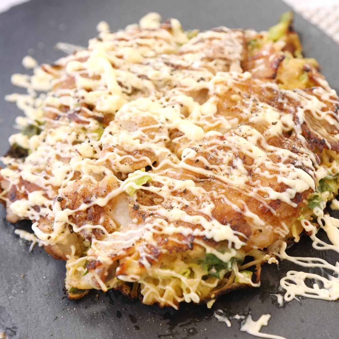 岸田さん家の素麺で作るねぎたっぷりの絶品お好み焼き