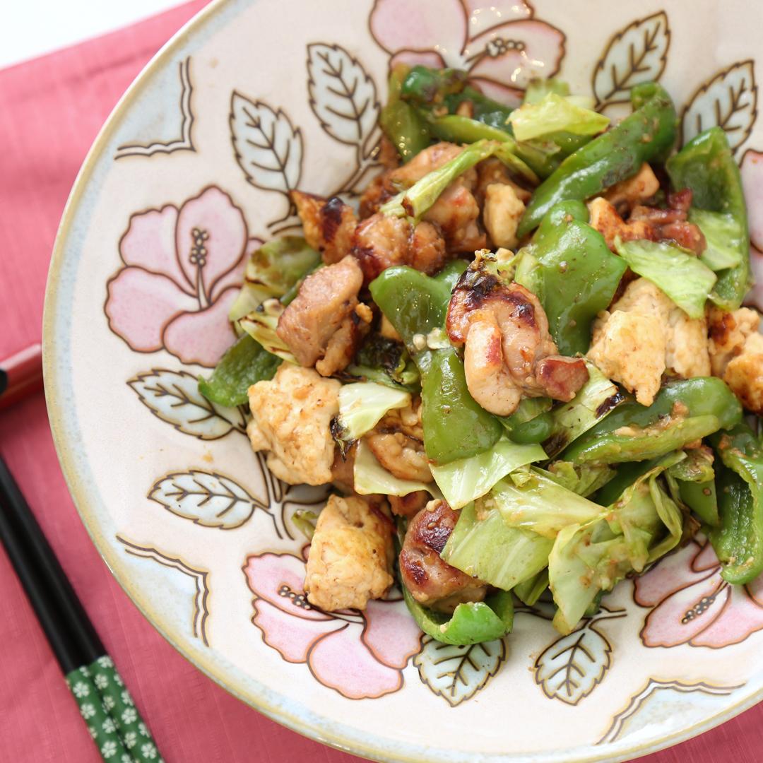 川嶋さん家の木綿豆腐とキャベツの味噌炒め
