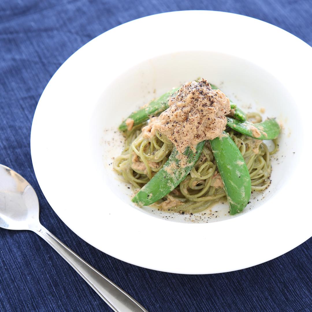 村上さん家の桑の葉麺の緑づくしわさび風味