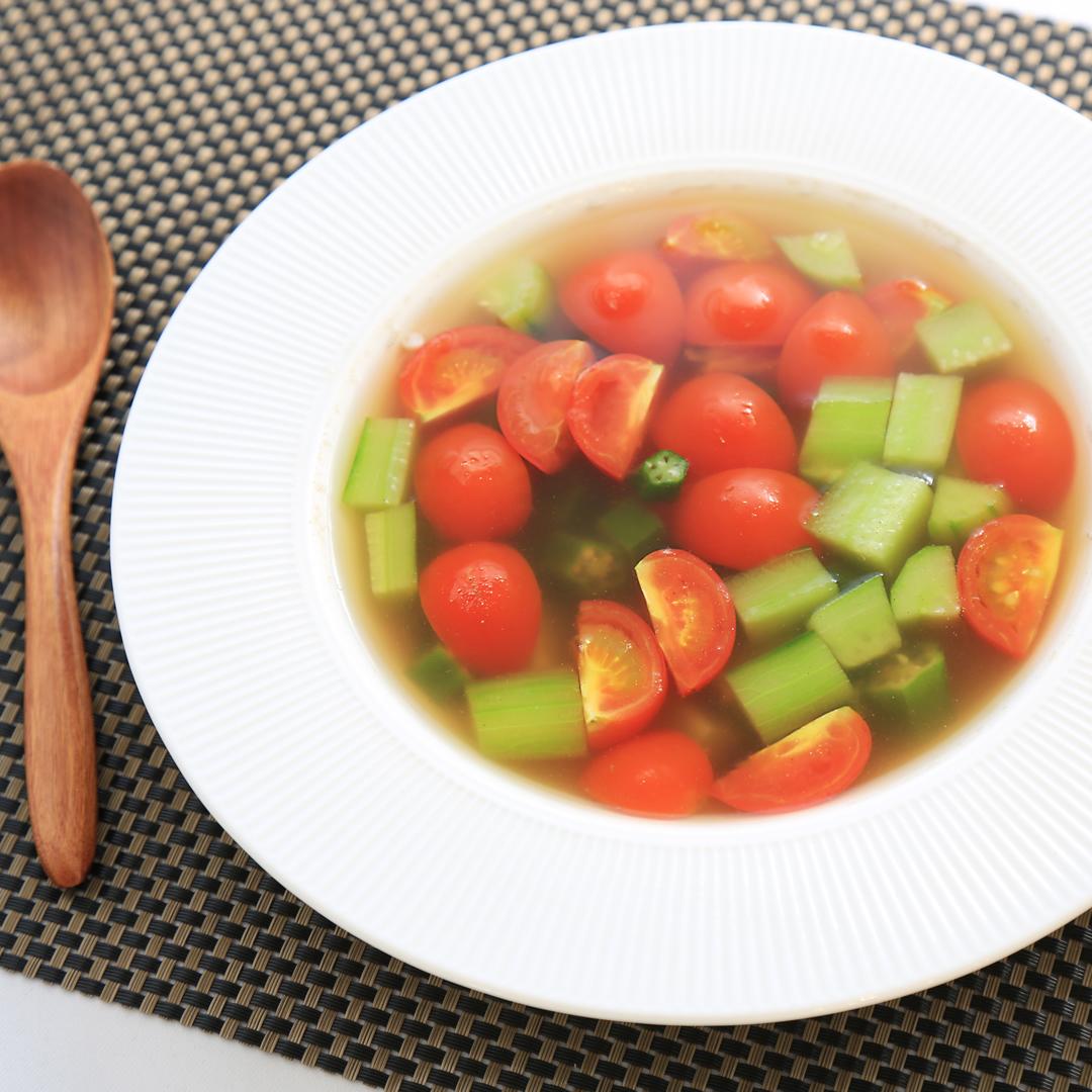 田中さん家の夏野菜の香味スープ