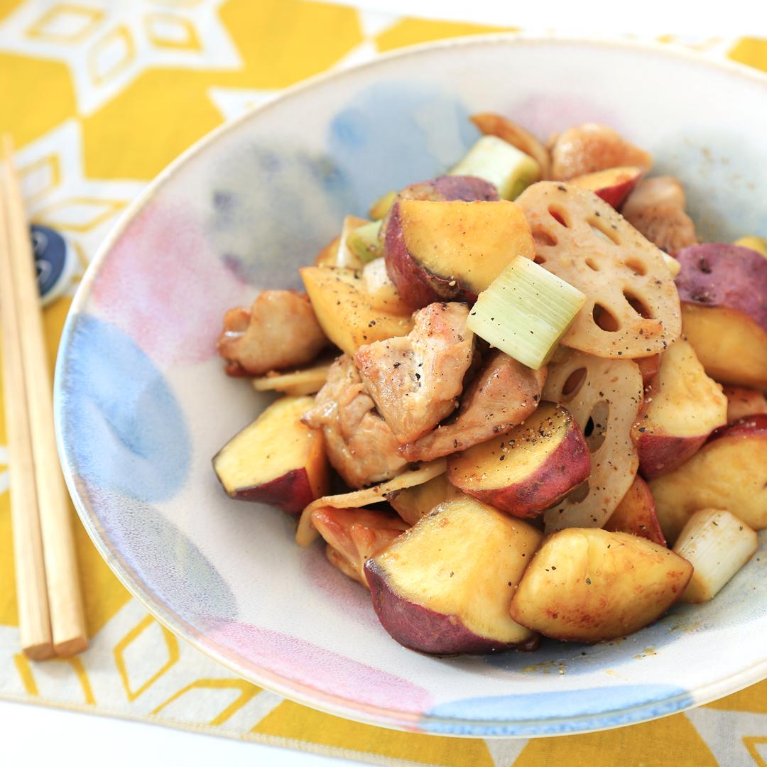 北川さん家のサツマイモとレンコンと鶏もも肉のバターポン酢